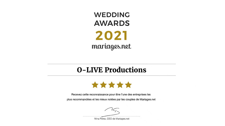 Mariages Wedding Récompense Award Meilleur Best DJ Animation O-LIVE Productions Mariages.net Musique 2021 Lille Nord France